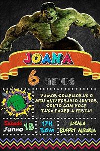 Convite digital quadro (Chalkboard) O Incrível Hulk 119