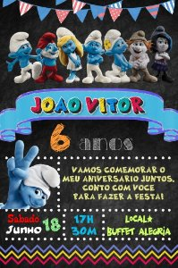 Convite digital quadro (Chalkboard) Os Smurfs 121