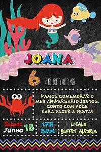 Convite digital quadro (Chalkboard) Pequena Sereia 126