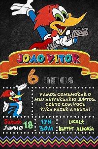 Convite digital quadro (Chalkboard) Pica-Pau 131