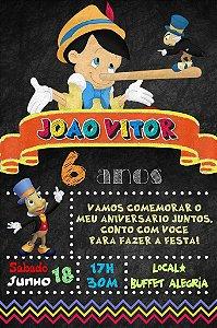 Convite digital quadro (Chalkboard) Pinóquio 133