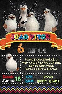 Convite digital quadro (Chalkboard) Pinguins de Madagascar 134