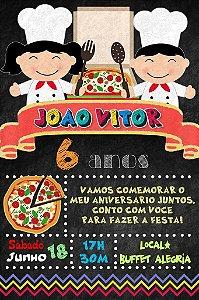 Convite digital quadro (Chalkboard) Pizza 137