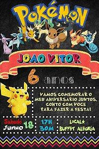 Convite digital quadro (Chalkboard) Pokemón 140