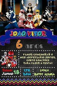Convite digital quadro (Chalkboard) Power Rangers 142