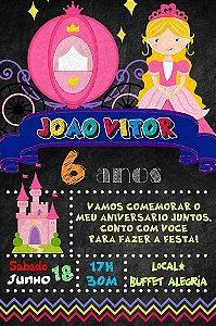 Convite digital quadro (Chalkboard) Princesa 143