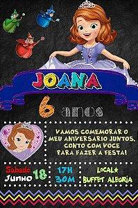 Convite digital quadro (Chalkboard) Princesa Sofia 144