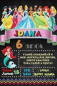 Convite digital quadro (Chalkboard) Princesas Disney 145