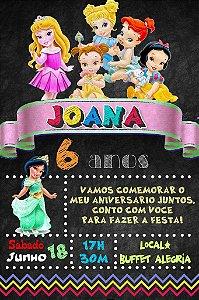 Convite digital quadro (Chalkboard) Princesas Disney Baby 146