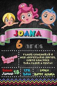 Convite digital quadro (Chalkboard) Princesas do Mar 147