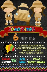 Convite digital quadro (Chalkboard) Safari 149