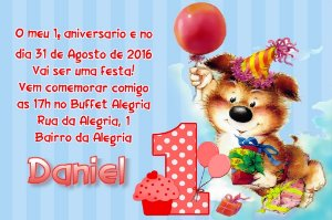 Convite digital personalizado Primeiro Aniversário 004