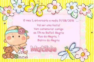 Convite digital personalizado Primeiro Aniversário 006