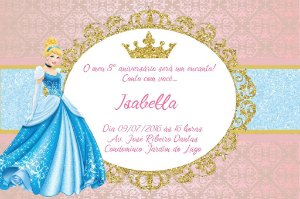 Convite digital personalizado Cinderela Royal Party 001