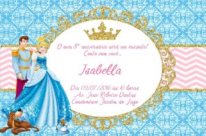 Convite digital personalizado Cinderela Royal Party 002