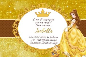 Convite digital personalizado A Bela e a Fera Royal Party 007