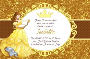 Convite digital personalizado A Bela e a Fera Royal Party 008