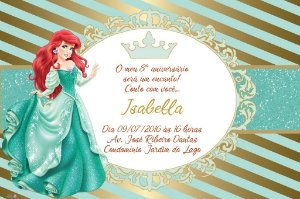 Convite digital personalizado Pequena Sereia Royal Party 009