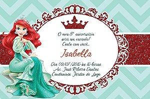 Convite digital personalizado Pequena Sereia Royal Party 010