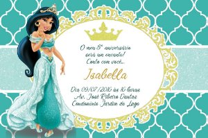 Convite digital personalizado Jasmine Aladin Royal Party 011