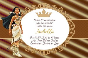Convite digital personalizado Pocahontas Royal Party 015
