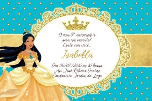 Convite digital personalizado Pocahontas Royal Party 016