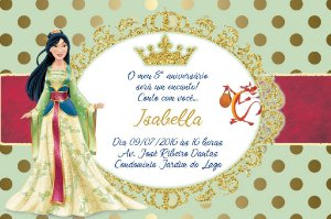 Convite digital personalizado Mulan Royal Party 017