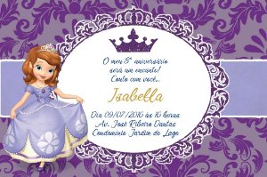 Convite digital personalizado Princesa Sofia Royal Party 019