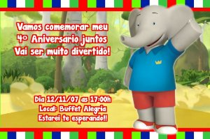 Convite digital personalizado Babar e as Aventuras de Badou 002