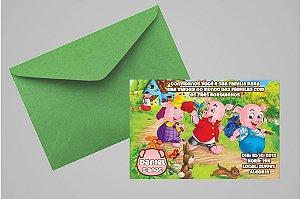 Convite 10x15 Os Três Porquinhos 011