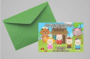 Convite 10x15 Os Três Porquinhos 013