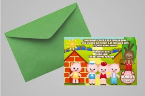Convite 10x15 Os Três Porquinhos 014