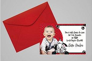 Convite 10x15 101 Dálmatas 004 com foto