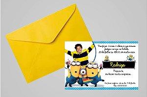 Convite 10x15 Minions 003 com foto