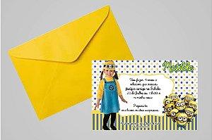 Convite 10x15 Minions 006 com foto