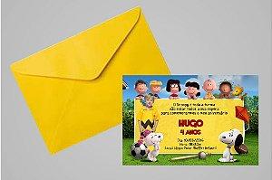 Convite 10x15 Snoopy e Charlie Brown 001 com foto