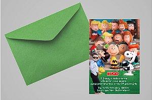 Convite 10x15 Snoopy e Charlie Brown 003 com foto