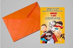 Convite 10x15 Snoopy e Charlie Brown 004 com foto