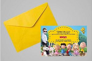 Convite 10x15 Snoopy e Charlie Brown 007 com foto