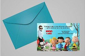 Convite 10x15 Snoopy e Charlie Brown 008 com foto