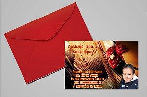 Convite 10x15 Homem Aranha 001 com foto