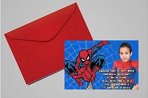 Convite 10x15 Homem Aranha 013 com foto