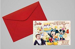Convite 10x15 Turma do Mickey 005 com foto