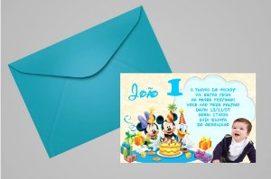 Convite 10x15 Turma do Mickey 006 com foto