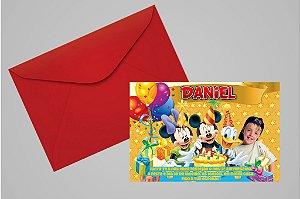 Convite 10x15 Turma do Mickey 012 com foto