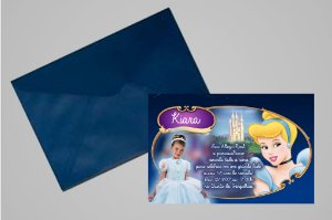 Convite 10x15 Cinderela 006 com foto