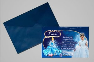 Convite 10x15 Cinderela 011 com foto