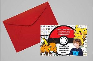 Convite 10x15 Pokemón 002 com foto