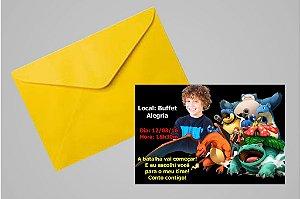 Convite 10x15 Pokemón 003 com foto