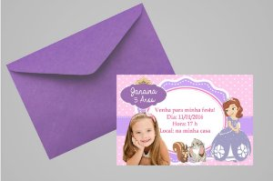 Convite 10x15 Princesa Sofia 002 com foto